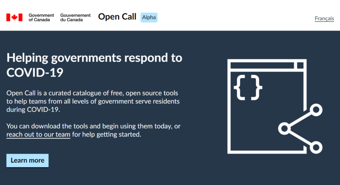 A screenshot of the Open Call homepage. The catalogue includes open source digital tools governments can use to ensure residents and businesses are safe, informed and engaged during COVID-19.